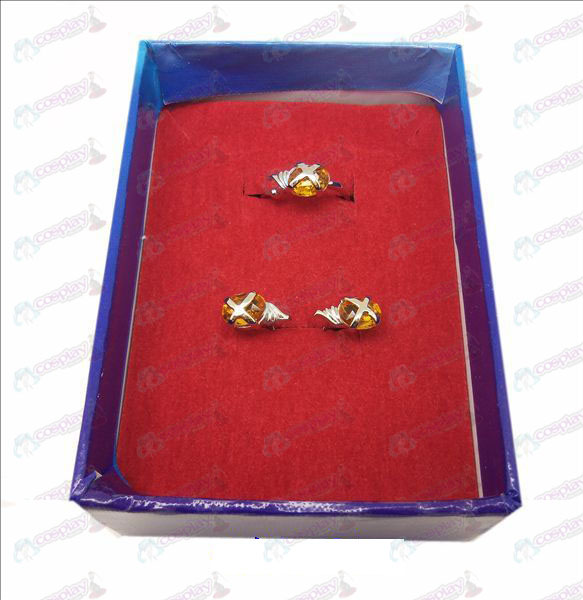 D Shakugan no Shana Edelstein-Ring + Ohrringe (kleine Ring orange)