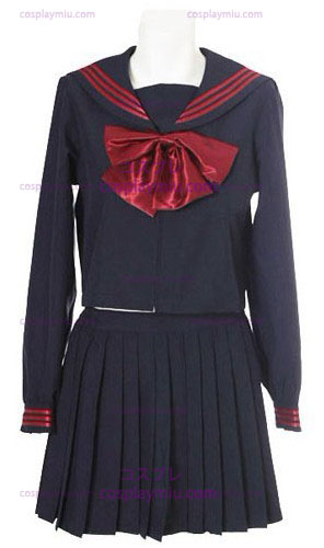 Deep Blue Long Sleeves Sailor Schuluniform