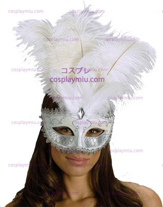 Carnival Mask Big Feather Wt / Sv