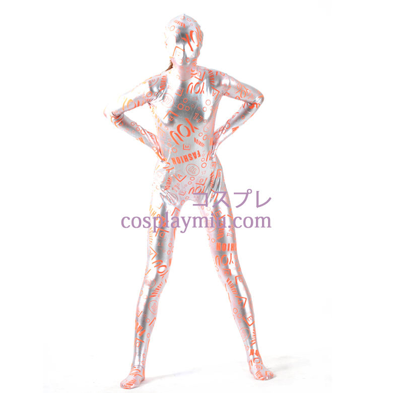 Letter-Muster Mosaic Gold-Zentai-Anzug