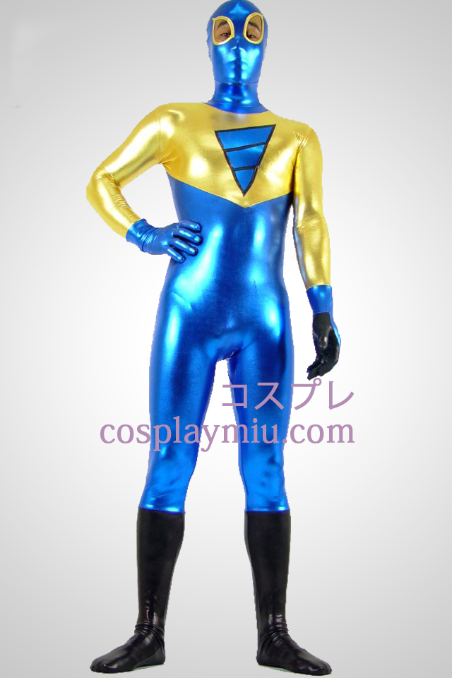Shiny Metallic Golden Black and Blue Zentai Anzug mit Auge offen