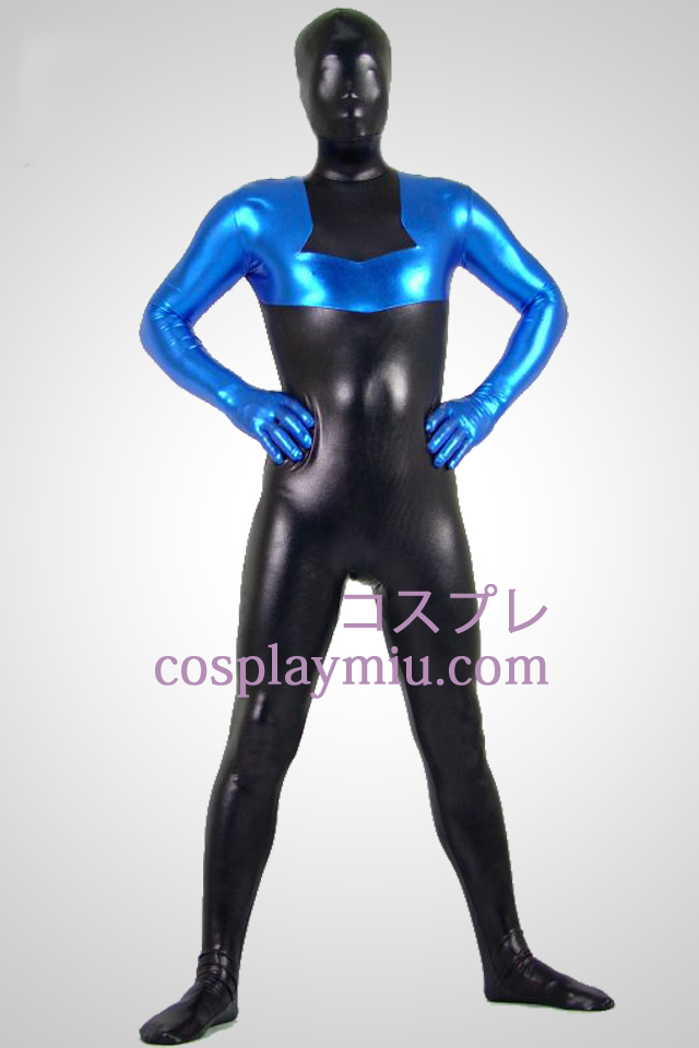 Black And Blue Metallic Look Zentai Anzug