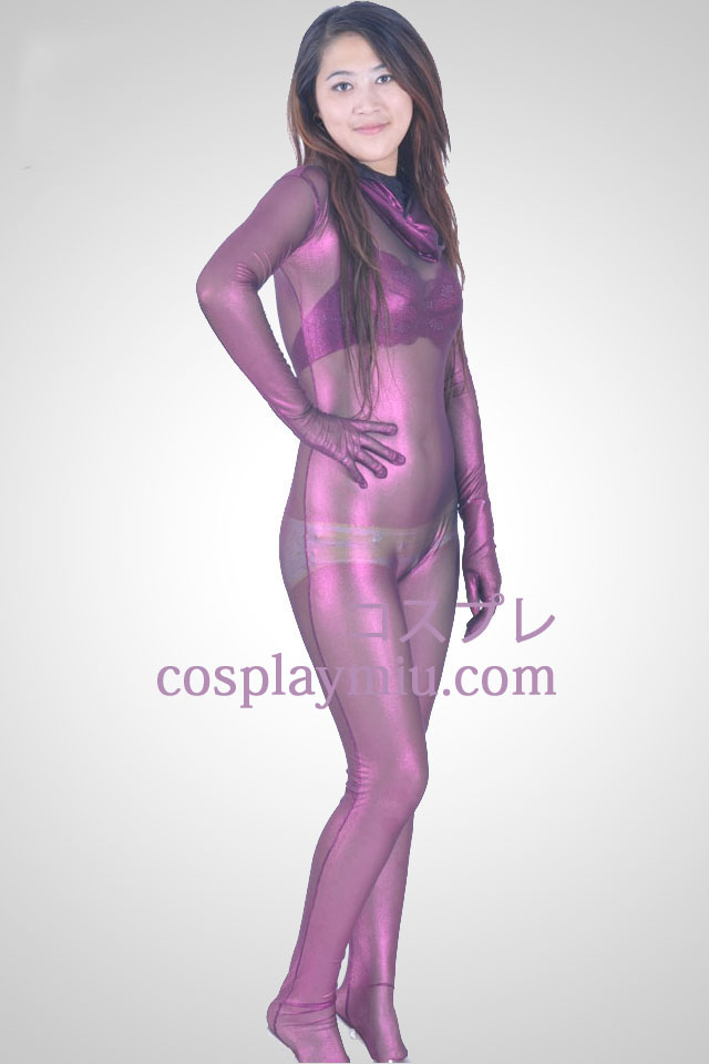Purple Velvet Semi-transparent Zentai-Anzug