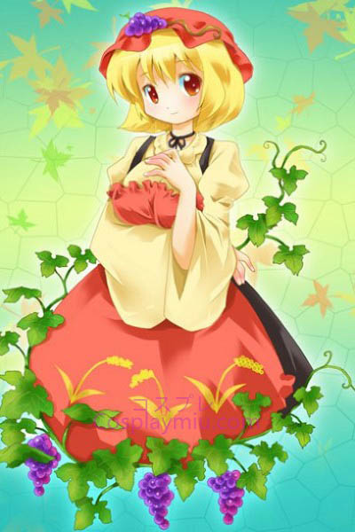Touhou Project Aki Minoriko Nette kurze Blond Cosplay Perücke Bottom